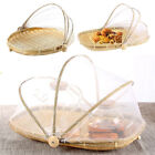 Oval Bamboo Tent Basket Hand-Woven Tray Serving Food Picnic Screen Net Cover