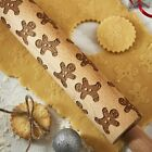 Christmas Rolling Pin Wood Embossed Etched, Trees or Gingerbread Brand New Ciroa