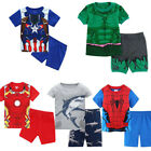 Various 2Pcs/Set Kids Boys Superhero  Shark Sleepwear Pajamas Matching Pjs 1-8Y