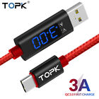 TOPK 3A Fast Charging LED Current Display iPhone Type-C/Micro USB Data iOS Cable