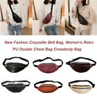 Retro Crocodile Leather Women Fanny Chest Bag Zip Purse Shoulder Crossbody Pack