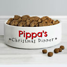 PERSONALISED NAME CHRISTMAS DINNER PET BOWL CERAMIC CAT DOG FOOD WATER MEDIUM