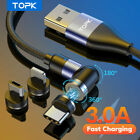 Topk 3A Fast Charging 540  Rotate Magnetic Data iPhone Cable Micro USB Type C