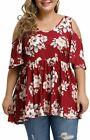 Allegrace Women's Plus Size Sexy V Neck Open Back Tops Floral Print Cold Shoulde