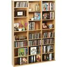 Wood Tower Media Storage Wall Bookcase CD DVD Blu Rays Open Cabinet Rack Shelf