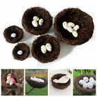 Home Decoration Fake Eggs Toad Vine Woven Artificial Birds Nest Straw Roost