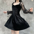 Retro Gothic Women Steampunk Dress Clothes Lace Sleeve Princess Dress Costume