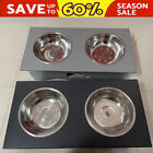 2021 Double Bowls Raised Stand For Cat Pet Dog Stainless Steel Feeder Food Bowl