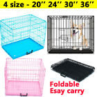 """Dog Cage Puppy Crates 20"""" 24"""" 30"""" 36"""" Foldable Training Cages - Black Pink Blue"""