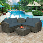 4pcs Outdoor Cushions Pe Rattan Wicker Sectional Sofa Set Garden Patio Furniture