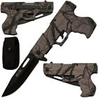 "8"" Tactical Assisted Spring HAND GUN PISTOL Folding Pocket Knife w HOLSTER"