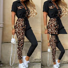 Womens Leopard Black Joint Overalls Belt Short Sleeve Jumpsuits Pants Trousers