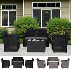 Outdoor 4-seater Pp Rattan Style Loveseat Lounge Table Garden Furnitur 2-color
