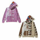 A BATHNIG APE Ladies' DESERT CAMO PANEL SHARK FULL ZIP HOODIE 2colors New