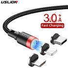 USLION Magnetic Fast Charging USB Cable Charger 3A For IPhone Type-C Micro USB