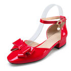 Women Mary Janes Flats Pumps Shoes Bowtie Ankle Strappy Block Low Heel Sandals