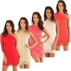 Womens One Shoulder Top Ex Branded Anu Style Lace Party Bodycon Mini Dress