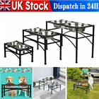 Pet Dog Cat Double Bowls Stand Feeder Dish Food Water Durable Stainless Steel UK