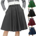 Ladies Skirt Skater High waist Party Cocktail Retro Solid Buttons Casual