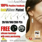 Syd Silver Gold Plated Earring Hook Ear Jewellery Making Diy Free Silicone Back