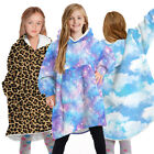 Kids Printed Hoodie Blanket Hooded Fleece Sweatshirt Oversized Giant Big Plush