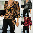 Womens Leopard Print V-Neck 3/4 Puff Sleeve Shirt Office Pullover Tops Blouse