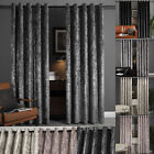 Luxury Plush Crushed Velvet Curtain Pair Ready Made Fully Lined Eyelet Ring Top