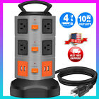 Power Strip Tower Surge Protector Multi outlet 4 USB ports Charging Station 6FT