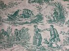 Vintage French Toile De Jouy Fabric Green on Clotted Cream Ground By the Metre