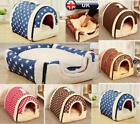 Warm Pet Cat Dog Dual Function Bed House Soft Mat Igloo Basket Bedding KennelYN