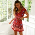 Womens Summer Holiday Boho Floral Sundress Skater Beach Casual Loose Mini Dress`