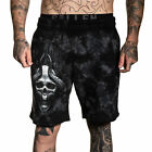 Sullen Men's Horn Skull Fleece Shorts Crystal Wash Black Clothing Apparel Tat...