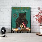 Coffee Cat Poster - Black Cat Poster, Gift for Cat Lovers, Cute Cat Wall Decor