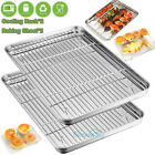 2Pack Baking Sheet with 2 Rack Set, Stainless Steel Cookie Sheet & Cooling Rack