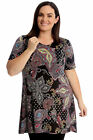 New Womens Plus Size Swing Top Ladies Paisley Print A-Line Tunic Short Sleeves