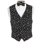 Brand New Black  White Musical Tuxedo Vest and Bowtie