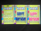 HAPPY BIRTHDAY LETTER CANDLES PINK BLUE YELLOW