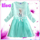 Mint Green Elsa Anna Princess Birthday Party Girls Dresses SIZE 1-2-3-4-5-6-7-8T