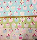 CUP CAKES FURNISHING FABRIC  100%cotton  FREE P&P
