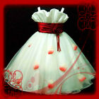 R818 AS_11AU Red White Christmas Party Flowers Girls Dresses SZ 2-3-4-5-6-7-8-9T