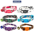 NEW Ancol Cat Collar Camo Camouflage Brown White Blue Green Pink With Bell