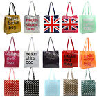 MEDIUM BLACK PINK BROWN RED PURPLE WHITE SILVER UNION JACK TOTE BAG SHOPPER