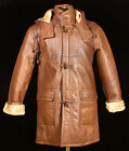 Men's Camel Brown New Smart Winter Real Shearling Sheepskin Leather Duffle Coat