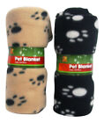 New Fleece Large Pet Blanket For Dogs or Cats 130cm x 90cm Paw Print