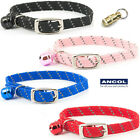 NEW Ancol Elasticated Soft Weave Reflective Cat Collar Softweave Black Pink Blue