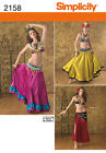PATTERN SIMPLICITY Sexy Belly Dance Costume 2158 Skirts Bra Belt Scarf Gypsy NEW