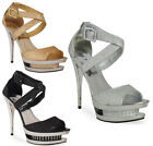 NEW WOMENS LADIES GLITTER DIAMANTE HIGH HEEL STILETTO PLATFORM PARTY SHOES 3-8