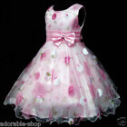 1811AU P3211 Pink X'mas Wedding Party Flower Girls Pageant Dress SZ 3-4-5-6-7-8Y