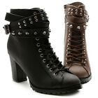New Womens Shoes Military Ankle Boots Lace Ups Chunky High Heels Metal Studs