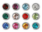 Studex Ear Piercing Stainless Steel Stud Earrings 4mm Bezel Setting Birthstones